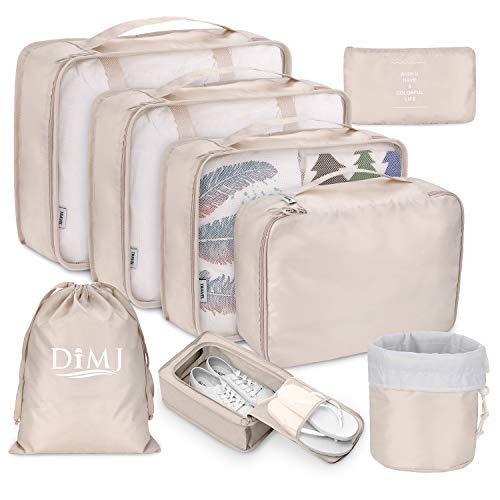 storage travels Packing Cubes for Travel, 8Pcs Travel Cubes Set Foldable Suitcase Organizer Lightweight Luggage Storage Bag (Beige)
