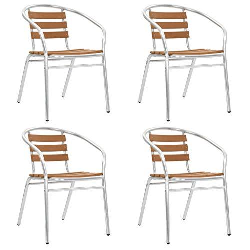 Festnight Tuinstoelen stapelbaar Eetkamerstoel fauteuil kan worden gebruikt bij receptie thuiskantoor woonkamer slaapkamer eetkamer woonkamer keuken balkon 4 st aluminium en HKC zilverkleurig