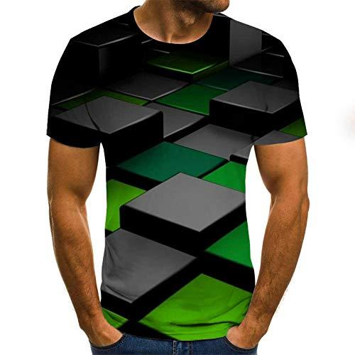 LKFTH Sommer 3D-Druck Männer T-Shirt Lässig 3D-gedruckte Männer Animal Tops T-Shirts Männliche Straßenkleidung Kurzarm Persönlichkeit M Green