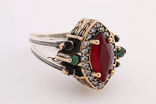 Turkish Handmade Jewelry Reversible Marquise Cut Emerald Ruby Jade 925 Sterling Silver Ring All Size