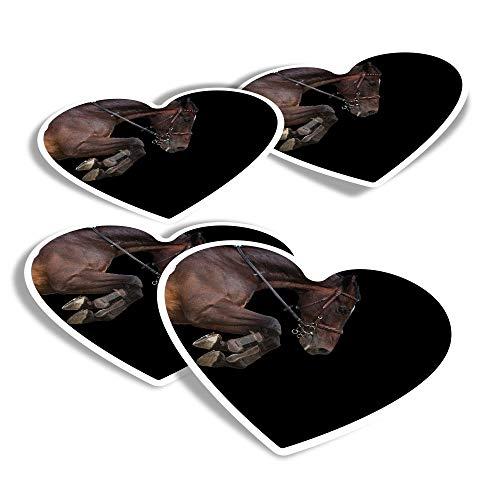 Pegatinas de vinilo con forma de corazón (juego de 4) – Caballo saltando jinete ecuestre divertidas calcomanías para portátiles, tabletas, equipaje, reserva de chatarra, frigoríficos #45358