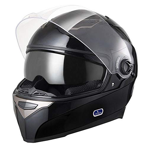 AHR Run-F Motorcycle Full Face Helmet Dual Visors Lightweight ABS Air Vent Motorbike Touring Sports DOT Approved