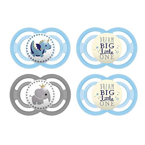 MAM Day & Night Perfect Schnuller Set im 4er-Set, 2x MAM Perfect und 2x MAM Perfect Night, für eine natürliche Zahn- und Kieferentwicklung, mit leuchtenden Schnullern, 6 - 16 Monate, blau