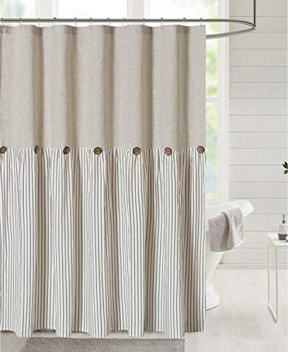 DOSLY IDÉES Linen Button Farmhouse Beige Shower Curtain,Linen and Cotton Woven Fabric,Pleated Gray Stripe,Country Style,72x72 in