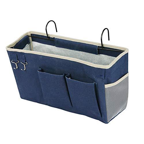 Fittoway Bolsillos de cama, bolsa de mesilla de noche para colgar, bolsillos portaobjetos, bolsa de mesilla de noche, prácticos accesorios para la cama, apto para camas de castillo y cama (azul)