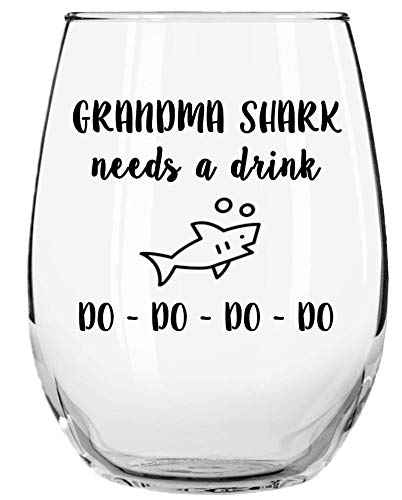Grandma Shark Needs a Drink Do Do Do Do Funny Novelty Libbey Stemless Wine Glass with Sayings - Gifts for Grandmas - Birthday, Christmas, Mothers Day Gifts
