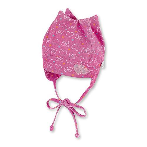 Sterntaler Zackenmütze für Mädchen mit Bindebändern, Ohrenklappen und Herz-/Schleifenmuster, Alter: 5-6 Monate, Größe: 43, Pink