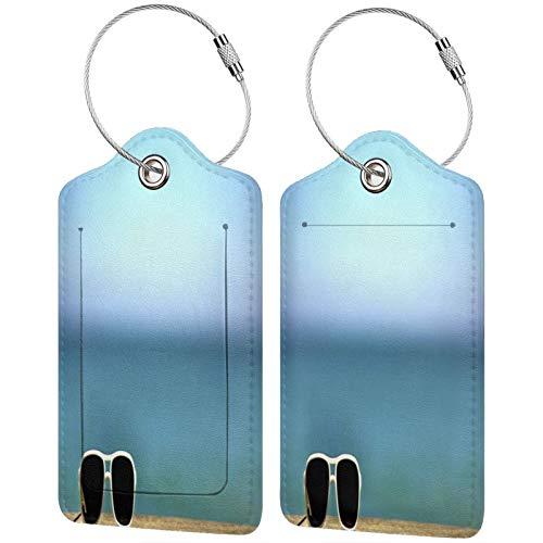 FULIYA Juego de 2 etiquetas de equipaje seguras de alta gama de cuero para maletas, tarjetas de visita o bolsa de identificación de viaje, gafas de sol, cielo, fondo