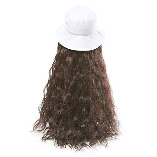 IREANJ Peluca de sombrero de verano para exteriores, peluca de pelo ondulado con sombrero, peluca de extensión de pelo largo sintético peluca con sombrero blanco rollo de fideos (marrón claro)