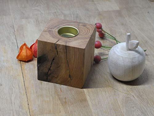 Teelichthalter 10cm Holz Eiche Massivholz Kerzenständer Teelicht Eichenholz Herbstdeko (Messing)