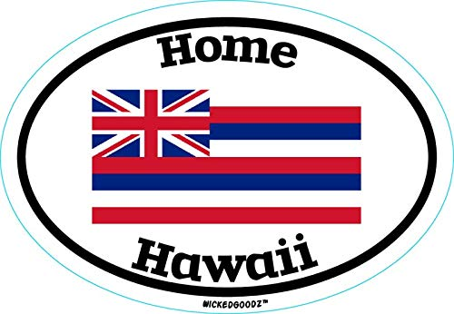 WickedGoodz Oval Hawaii Home Vinyl Decal - State Flag Bumper Sticker - Perfect Vacation Gift