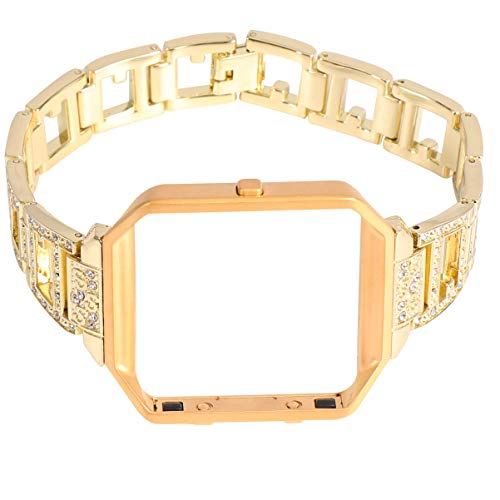 NICERIO Correa de Repuesto para Reloj Inteligente: Marco de Reloj de Aleación de Correa de Reloj de Diamantes de Imitación Compatible para Fitbit Blaze Silver (Correa de Reloj + Marco de