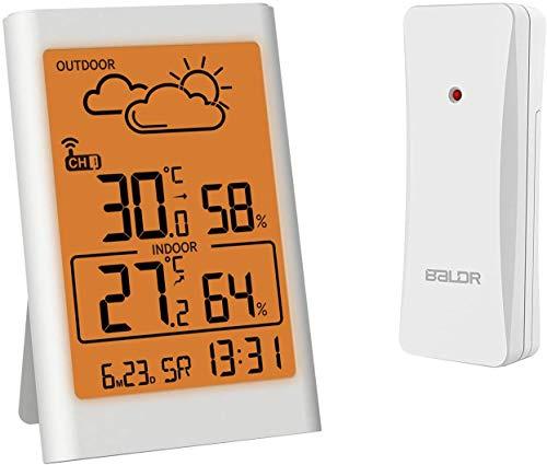 TEKFUN Wetterstation Funk mit Außensensor, Digital Thermometer Hygrometer Innen und Außen Raumthermometer Feuchtigkeit mit Wettervorhersage, Uhrzeitanzeige, Wecker und Nachtlicht (Orange-Weiß)