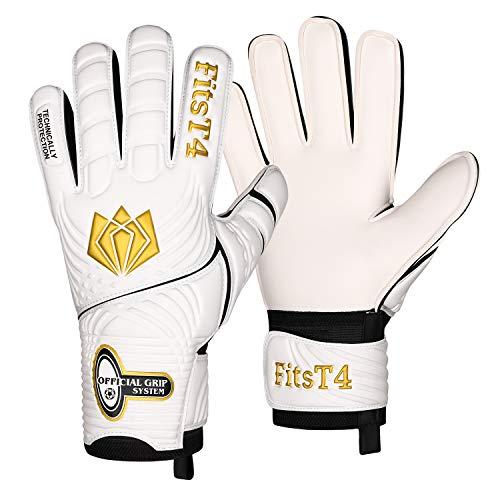 FitsT4 Goalie Goalkeeper Gloves with Fingersaves & Super Grip Palms Soccer Goalkeeper Gloves for Youth, Adult Gold 7