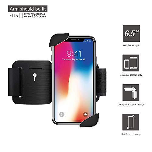 Wonanse Universal Sportarmband für Mobiltelefone, kompatibel mit iPhone X/XS/XR/XS Max/6/7/8/6 Plus/7 Plus/8 Plus, Samsung, Huawei, Google & mehr Handys, für die meisten von 4-6.5 Zoll Smartphones
