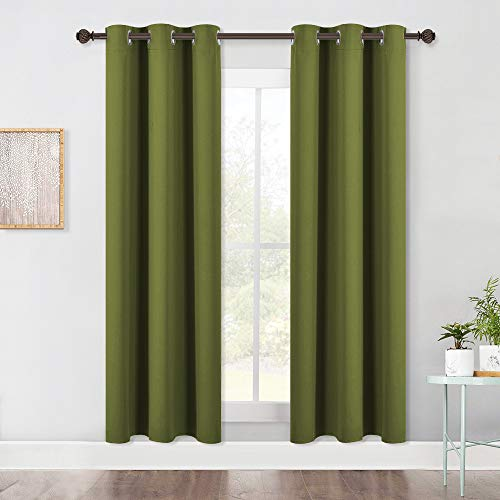 NICETOWN Living Room Blackout Window Curtains Thermal Insulated Solid Grommet Blackout Drapery Panels (One Pair,42 by 72-Inch,Olive Green)