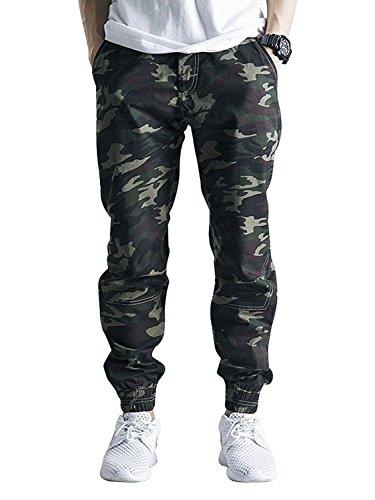 OCHENTA Men's Slim Fit Casual Twill Chino Drawstring Jogger Pants #1235 Army Camo 34