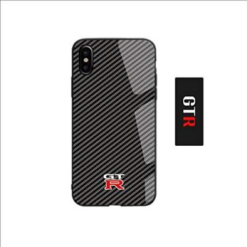 JLFDHR Funda de Fibra de Carbono Caliente para iPhone X XR XS MAX 6s 7 8 6 Plus Espejo de Cristal Coche iPhone 7 8 Plus Capa-para iPhone 7Plus-GTR
