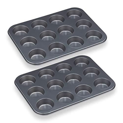 Relaxdays Muffinform, 2er Set, 12er Muffinbleche, antihaftbeschichtet, Carbonstahl, Muffins & Cupcakes, Ø 6,5 cm, grau