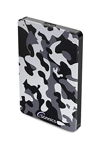 Sonnics 320 GB gris Camo disco duro externo USB 3.0 velocidad de transferencia súper rápida para uso con Windows PC, Apple Mac, Smart TV, Xbox One y PS4 edición especial