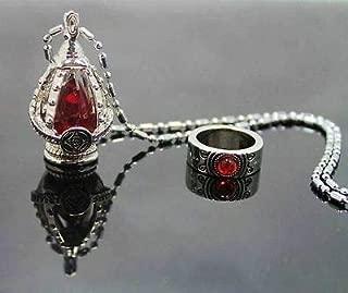 FidgetKute Wholesale Cosplay Puella Magi Madoka Magica Soul Gem Necklace & Ring Set 5Colors red :Sakura Kyoko