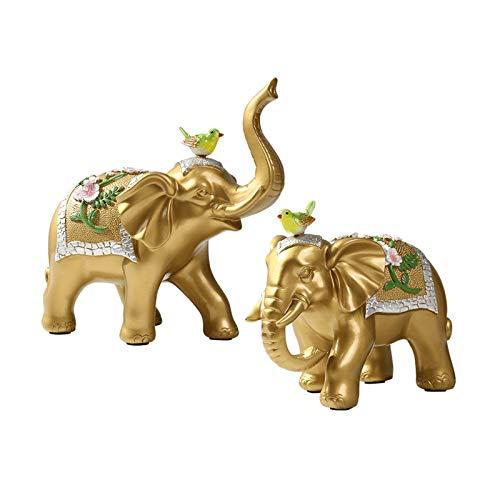 Figurillas Decorativas Chino Elephant Decoration Lucky Feng Shui Elefante Par de la sala de estar de la oficina Oficina de la oficina Elefante Estatua Decoración Apertura de la apertura del regalo Esc