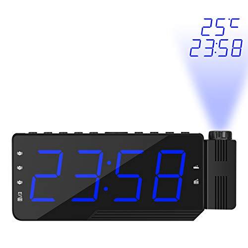 TiooDre Reloj Despertador de proyección, Radio LED Grande de FM Digital Proyector de Techo Reloj Despertador con 3 alarmas, función de repetición, Temporizador de Apagado, Almacenamiento Temporal