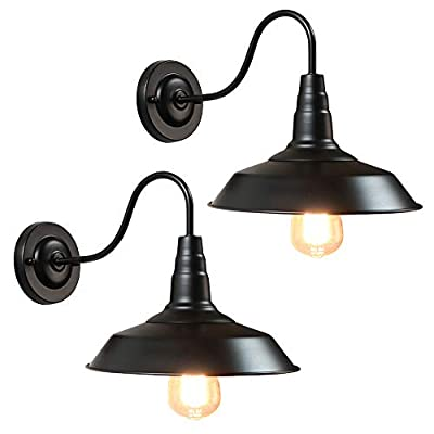 WBinDX 2 Pack Black Wall Sconces Gooseneck Barn Bathroom Vanity Wall Light Fixtures Industrial Vintage Farmhouse Wall Lamp for Porch Pathway Bedroom