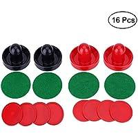 Yeelan Air Hockey Pushers & Pucks Set, de Gran tamaño, (2 empujadores de la Armada + 2 empujadores de la Rojo +4 lints + 8 Red Pucks)