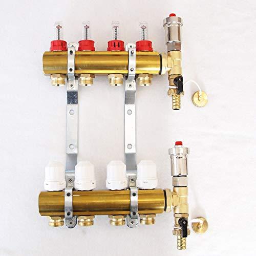 Messing Heizkreisverteiler Systemverteiler mit Durchflussmengenmesser und Entlüftergruppe 4 Heizkreise für Fussbodenheizung