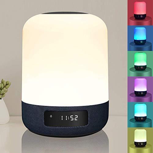 Luz nocturna, lámparas de mesa con altavoz Bluetooth, práctica lámpara de mesita de noche, recargable (4000 mA), luz blanca cálida, 3 niveles de brillo y 6 cambios de color,...