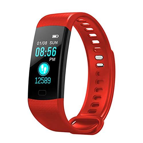 LYB Banda Inteligente Ritmo Cardíaco Monitor De Presión Arterial Alto Brillo Pantalla Colorida Pulsera Inteligente Pulsera Fitness (Color : Red)