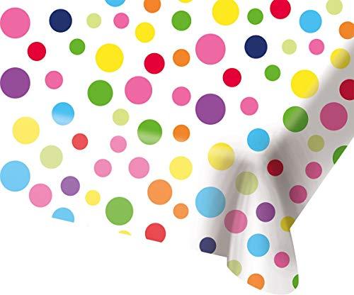 Folat 65113 Happy Bday tafelkleed met stippen, 130x180 cm, meerdere kleuren