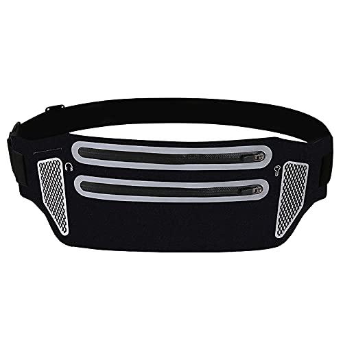Riñonera Deportiva, Cinturón Running Mujer Hombre Impermeable con Bandas Reflectante, Bolsa de cinturón Deportivo con Gran Capacidad para Correr, Hacer Ejercicios (Negro)
