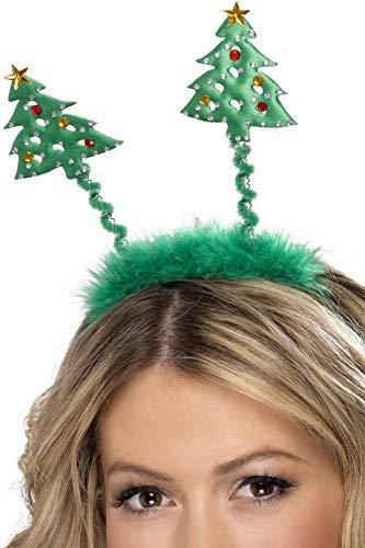 Smiffys Unisex Christbaum Bommel auf Haarreif, One Size, Grün, 38462