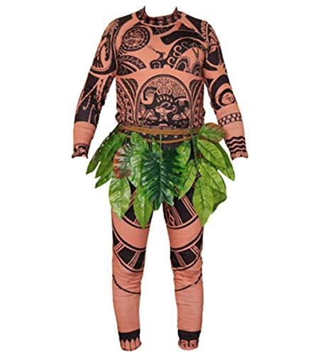 Erwachsene Männer Frauen Baby Kinder Moana Maui Tattoo T-Shirt/Hose Set Leaf Rock Kostüm Cosplay Familie passende Outfits (Kinder, S)