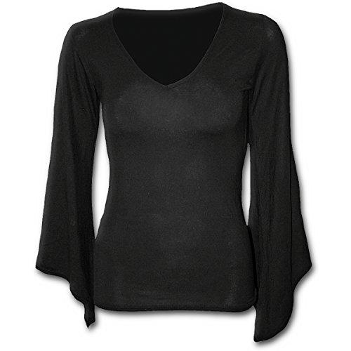 camicia donna gotica Spiral Direct Gothic Elegance-V Neck Goth Sleeve Top Maglia a Maniche Lunghe