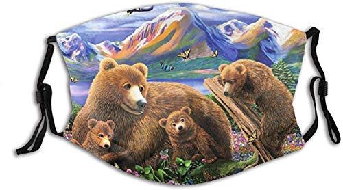Face Mask Mama Grizzly and Her Cubs Bears Fantasy Mountains Flying Eagle Butterflies Balaclava Unisex Reusable Windproof Mouth Bandanas Outdoor Neck Gaiter Made in USA