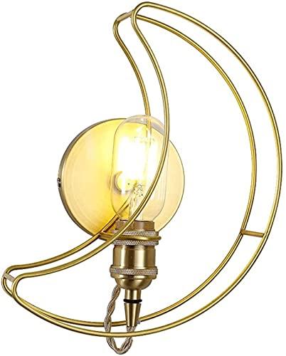 MWKL Lámparas de Pared de Cobre Minimalistas nórdicas de Alto Rendimiento Personalidad Luna Apliques de Pared Base E27 Habitación para niños Creatividad Luz de Montaje en Pared Interior
