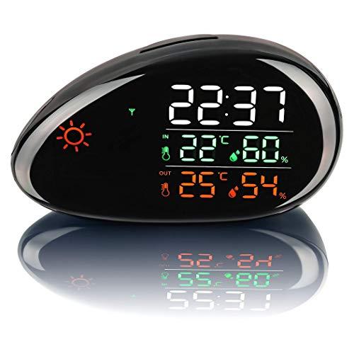 SEBSON Wetterstation mit Innen- und Außentemperatur, Wettervorhersage, Funk Außensensor, Luftfeuchtigkeit, LED Farbdisplay