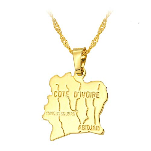 Ketting/Afrika Cote d'Ivoire Kaart Hanger Ketting/Vrouwen Gouden Water Wave Ketting sleutelbeen Ketting Trui Ketting