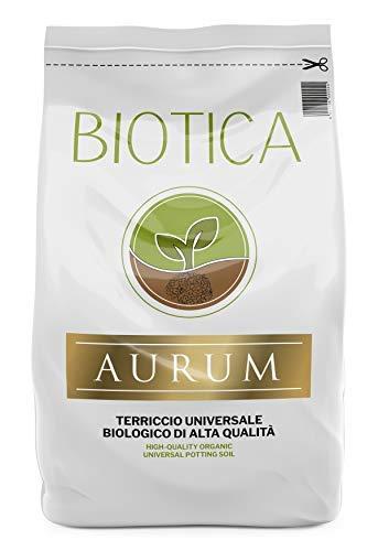 BIOTICA Aurum Terriccio Naturale Universale di Alta qualità - Fertilizzato con Humus di Lombrico (20 Litri)