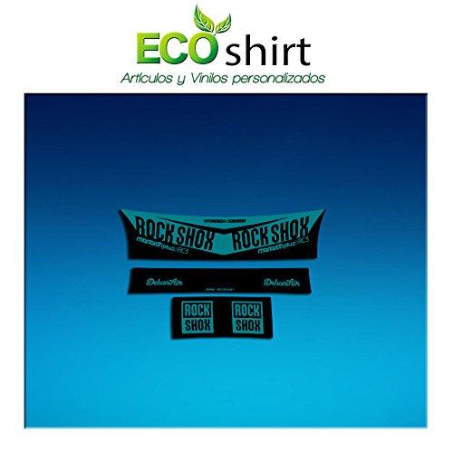 Ecoshirt CC-VA6H-RDMH Aufkleber Shock Rock Shox Monarch Plus Rc3 Am203 Aufkleber Stoßdämpfer MTB Downhill, Türkis