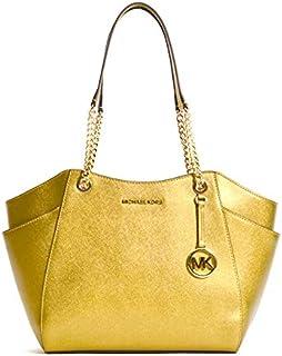 Michael Kors Women's Jet Set Travel, Large Chain Shoulder Tote Bag, Leather Material - Old Gold