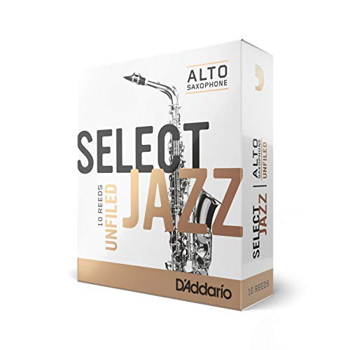Rico Select Jazz Alto Sax Reeds, Unfiled, Strength 3 Strength Soft, 10-pack