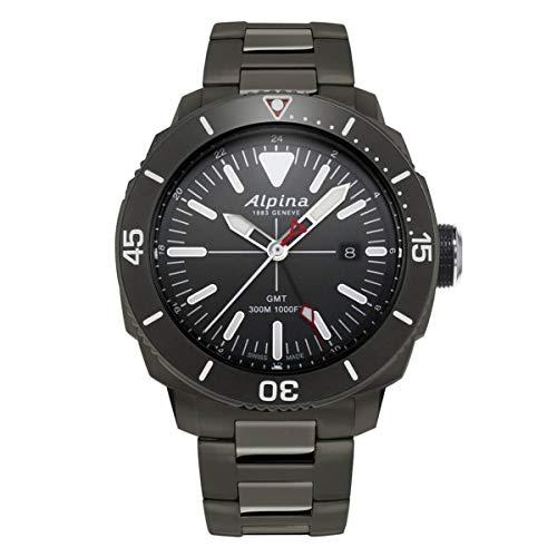 Alpina Seastrong Diver GMT Herren-Armbanduhr 44mm Batterie AL-247LGG4TV6B