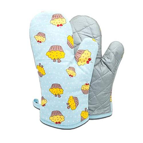 Voarge 1 Paar Verdickte Hitzebeständige Ofenhandschuhe, Backofenhandschuh Hitzebeständig, in vielen lustigen Designs, blau Kuchen