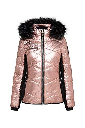 SOCCX Damen Steppjacke im Ski-Design mit Metallic Look