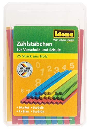 Idena 656019 Zählstäbchen, 25 Stück aus Holz, bunt