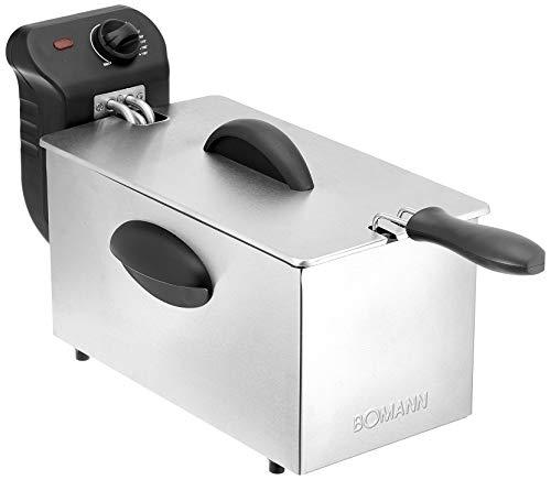 Bomann FR 2264 CB roestvrijstalen friteuse met koude zone-technologie, 3 l, 2000 W, roestvrijstalen verwarmingsspiraal (uitneembaar)